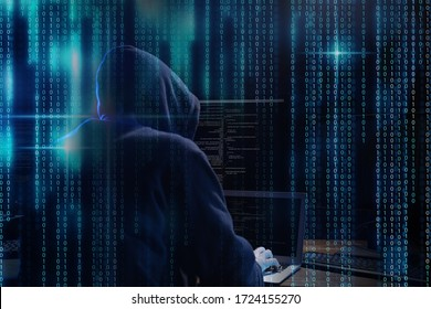 Cyber criminal hacking system at table, digital binary code on foreground