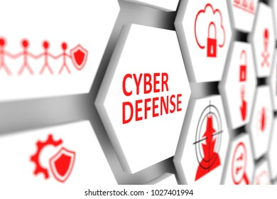 Cyber defense concept cell blurred background 3d illustration