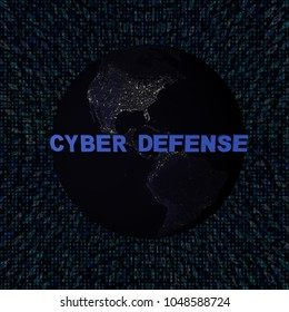 Cyber Defense text with earth by night and blue hex code 3d illustration - elements of this image furnished by NASA