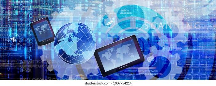 cyber digital technology internet 3d rendering illustration