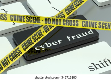 cyber fraud concept, on the computer keyboard
