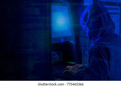 Cyber hacker using kvm on server rack cabinet in data center, internet security and networking crime concept