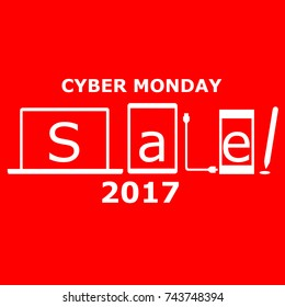 Cyber Monday 2017 poster featuring electronic gadgets and devices such as phones, laptops and tablets. White symbols in red background.