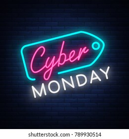Cyber Monday concept banner in fashionable neon style, luminous signboard, nightly advertising advertisement of sales rebates of cyber Monday. illustration for your projects.