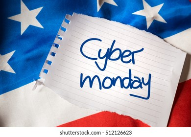 Cyber Monday on notepaper and the US flag