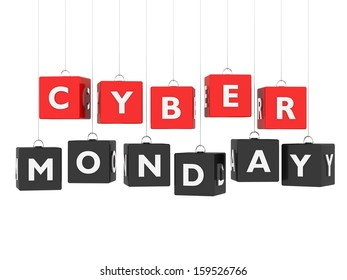 Cyber Monday - red and black cubes hanging on white background
