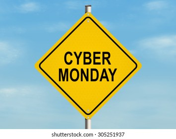 Cyber monday. Road sign on the sky background. Raster illustration.
