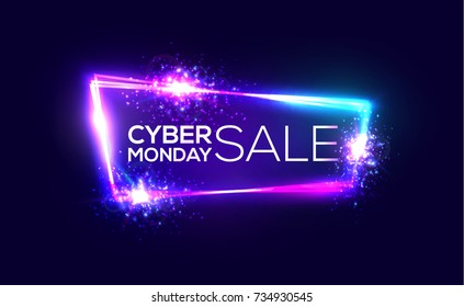 Cyber monday sale background. Neon embossed letters on dark blue background. Holiday shopping sign with flares and sparkles. Night club techno frame with explosion and light. 3d discount illustration.