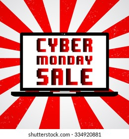 Cyber Monday Sale. Black laptop. illustration