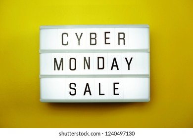 cyber monday sale flat lay top view on yellow background
