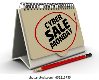 """Cyber monday sale. Inscription on the calendar. Desktop calendar with inscription """"CYBER MONDAY SALE"""" on the white surface. Isolated. 3D Illustration"""