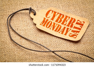 Cyber Monday Sale sign - a paper price tag with a twine iagainst burlap canvas