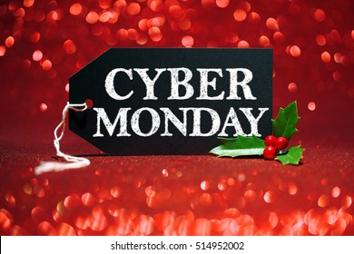 Cyber Monday sale tag on red glitter background