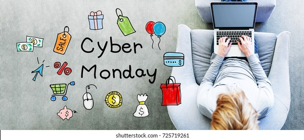Cyber Monday text with man using a laptop