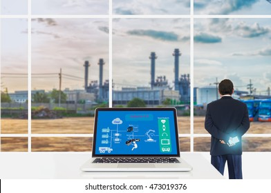Cyber - Physical production or Industry 4.0 benefit concept.  Bausiness man and Laptop computer with Cyber - Physical connection diagram on screen  against the industrial infrasturcture background.