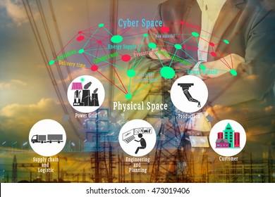 Cyber - Physical production or Industry 4.0 concept. Cyber - Physical connection on double exposure of business man and industrial infrastructure background.