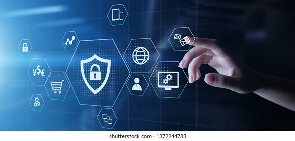 Cyber Protection Data Security Internet Privacy Internet technology concept on virtual screen.
