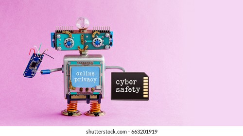 Cyber safety online privacy robotic concept. System administrator robot toy with memory card chip circuit. Steampunk cyborg, blue head. Alert message interface. Pink background. Copy space photo