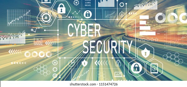 Cyber Security with abstract high speed technology POV motion blurred image