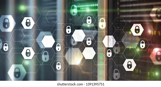 Cyber security abstract technology banner background. Data protection, information privacy