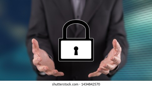 Cyber security concept above the hands of a man in background