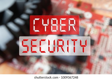 CYBER SECURITY CONCEPT : Blurred of a circuit board with big microchip .