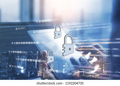 Cyber security concept. Digital data protection on electronics device. Double exposure, man working on laptop computer and city, technology code background, Safety Business and technology development