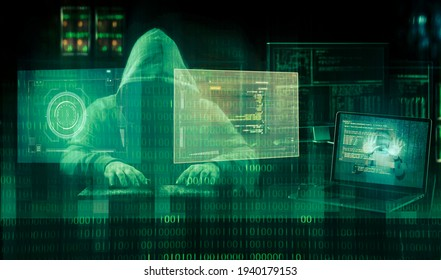 cyber security concept  hooded hacker