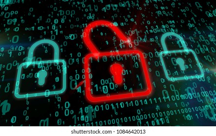 Cyber security concept. Red padlock icon on digital background in 3d perspective view. Symbol of technology protection.