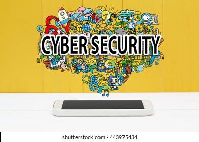 Cyber Security concept with smartphone on yellow wooden background