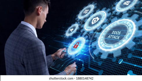 Cyber security data protection business technology privacy concept. Ddos attack