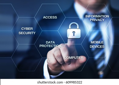 Cyber Security Data Protection Business Technology Privacy concept. Man pressing button on display with word in modern office