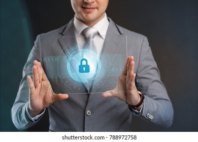 Cyber Security Data Protection Business Technology Privacy concept.Businessman pressing  button on virtual screens