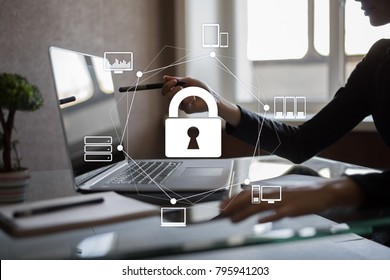 Cyber security. Data protection. Information privacy. Padlock icon on virtual screen.
