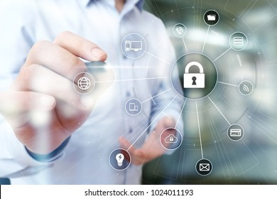 Cyber security, data protection. Internet and tehcnology concept.