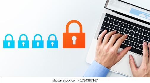 Konzept der Cybersicherheit und des Datenschutzsystems Top-Ansicht von Geschäftsmann mit Laptop- und Padlock-Icons auf weißem Hintergrund.