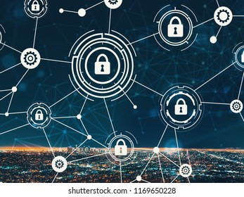 Cyber security with downtown Los Angeles at night