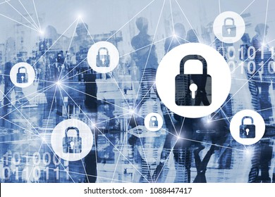 cyber security or gdpr concept, cybersecurity, personal information and private digital data protection online, virtual locks, secured internet connection