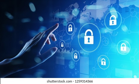 Cyber security, Information privacy, Data protection. Internet and technology concept on virtual screen.