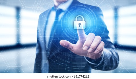 Cyber Security Lock on Digital Screen Data Protection Business Technology Privacy concept