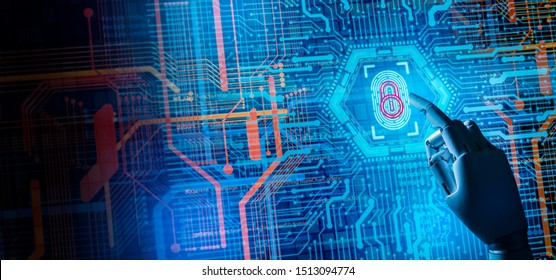 Cyber security network and artificial intelligence technology concept.Robot can't scan biometric.Fingerprint scan provides security access with biometrics identification.Cyber security form AI hacker.
