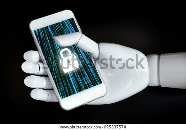 Cyber security network and artificial intelligence technology concept. Robot hand using mobile phone with master key connect world networking virtual graphic and binary coded with black background.