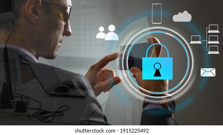 Cyber security network concept. Hand using smartphone with master key connect world networking virtual graphic and binary coded background.