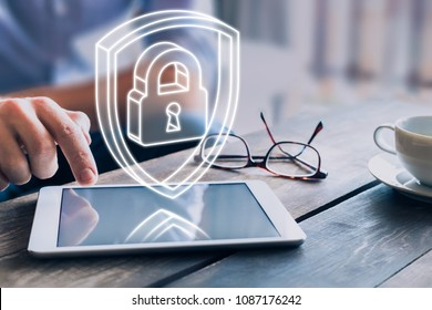 Cyber security on internet concept with 3d padlock and shield, protect personal data and privacy from cyberattack and hacker, secure access on digital tablet computer