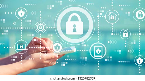 Cyber security with person holding a white smartphone