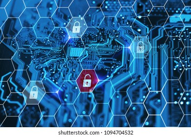 Cyber security technology. Data breach. Protection of private personal information on internet online. Hacker attack concept.