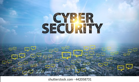 CYBER SECURITY text on city and sky background with bubble chat ,business analysis and strategy as concept