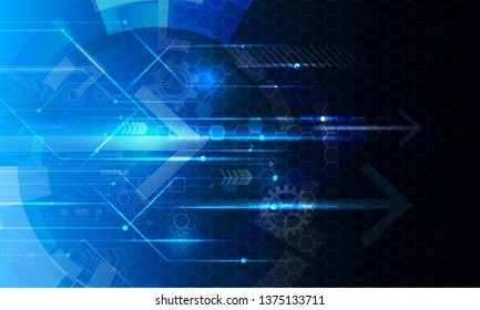 Cyber security, Vector illustration white gear and tree cog wheel on circuit board, Hi-tech digital technology and engineering on blue color background