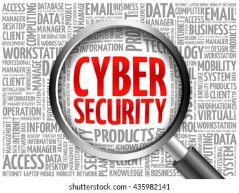 Cyber Security word cloud with magnifying glass, business concept 3D illustration