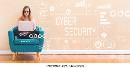 Cyber Security with young woman using her laptop in a chair